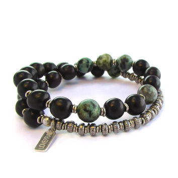 Strength and Change, Ebony and African Turquoise 27 beads unisex mala bracelet™