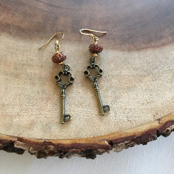 Bronze Key Dangle Earrings, Key Earrings