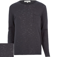 River Island MensBlack marl pocket sweater