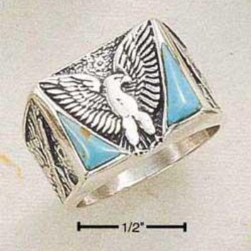 Sterling Silver Men's Reconstituted Turquoise Eagle Ring