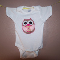 OWL FELT APPLIQUE Baby Onesuit Children Clothing Cute Designs Decorative Activewear Onepiece