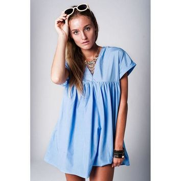 CREYON BLUE BABYDOLL DRESS WITH V NECK AND CUT OUT BACK