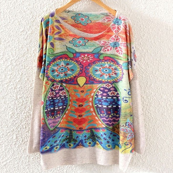 Vintage Womens Batwing Long Sleeve Tribal Owl Print Knit Sweater Knitwear Tops (Color: Beige) = 1946472452