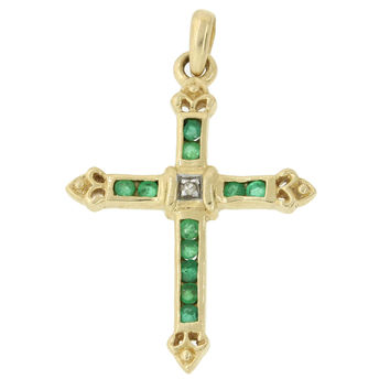 Vintage Estate 14k Solid Yellow Gold .22ctw Emerald Diamond Cross Pendant