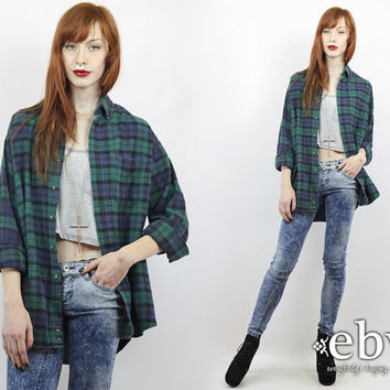 Vintage 90s Plaid Flannel Shirt S M L Oversized Flannel Shirt 90s Grunge Shirt 90s Flannel Shirt Green Plaid Shirt Green Flannel Shirt