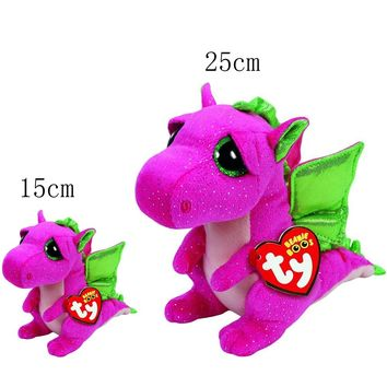 "Original Ty Beanie Boos Darla Pink Dragon Plush Set 6"" 15cm & 10"" 25cm Stuffed Animal Collectible Soft Doll Toy"