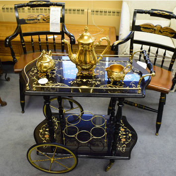 Antique Tea & Wine Cart, Italian, Teapot & All Fine Antique Kitchenware Included, Nostalgic Black & Gold