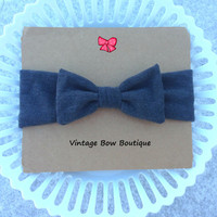 Stretch bow headband - bow headwrap - charcoal grey - retro - feminine - women - teens