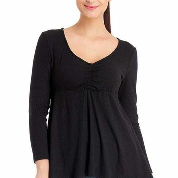 Black Pleated Long Sleeve V Neck Plus Size Top