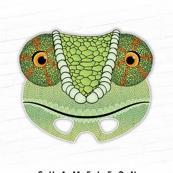 Printable Mask, Halloween Costume, Chameleon, Lizard Mask, Chameleon Mask, Chamaeleons, Green Lizard, Reptile, Photo Booth Props, Paper Mask