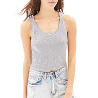 FOREVER 21 Striped Knit Tank Cream/Black