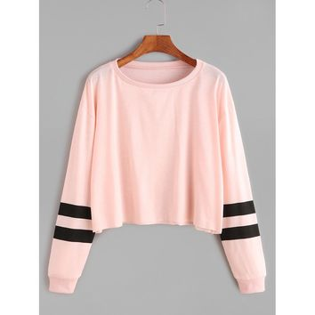 Varsity Striped Sleeve Crop Tee Pink