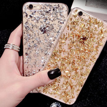 Crystal Clear Paillette Glitter Gold Rubber Shockproof TPU Phone Cases for Apple iPhone 5s 5 6 6s Plus Back Cover Soft Case  A52