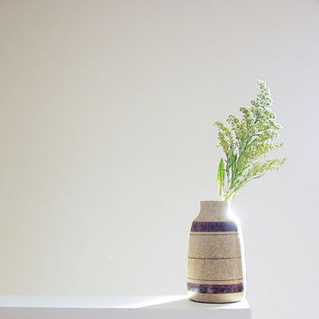 Studio Art Pottery Vase - 1960s PIC USA - Vintage Home Decor - Striped Flower Vase - California Ceramic Minimalist Art - Natural Neutral