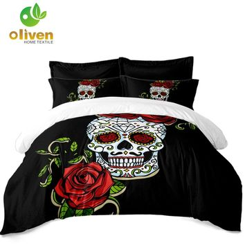 New Rose Skull Bedding Set Lady Sugar Skull Duvet Cover Set Pillowcase Black White Bedclothes Bedroom Bed Set Home Textile D49
