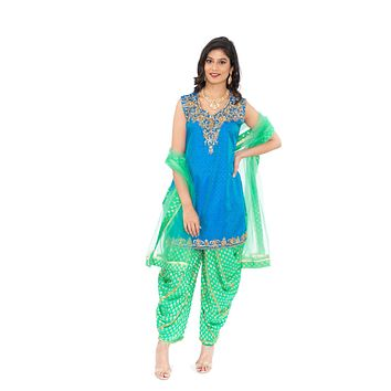 Azure Green with Gold work Indo-Western Long Anarkali