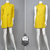 Vintage 60s Mustard Yellow Mod Two Piece Mini Dress Set Space Age Geometric Print Coat and Dress Jacket Funnel Neck Jackie O Minimalist Chic