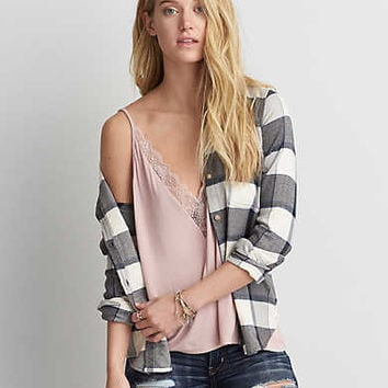 AEO Ahh-mazingly Soft Flannel Shirt Jacket, Gray