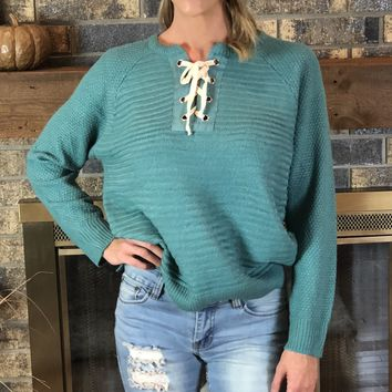 Teal Lace Up Sweater
