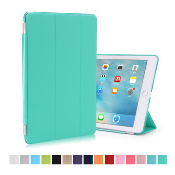 for ipad air 1 case magbetic smart cover 9.0 inch pu leather+matte transparent back shell 2016 new color mint green