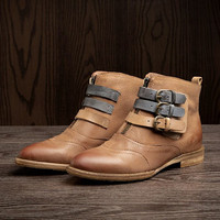 Womens Handmade Leather Martin Boots Pointed boots,Buckle Ankle Boots,Fall/Winter Boots,Ladies Leather Boots,Womens Flats Boots,Brown Boots