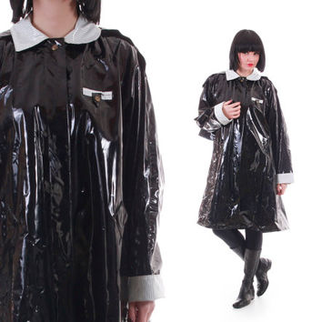 90s PVC Wippete Black and White Vinyl Mac Raincoat Draped Tent A Line Cyber Goth Club Kid Clothing Unisex Size 2X+