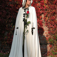 "Medieval Hooded Cape ""Milorada""; ren cape; white cape; red cape"