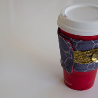 Reusable Drink Sleeve - Nautical Fabric - Reusable Coffee Sleeve - Go Green Coffee Sleeve - Button Drink Sleeve