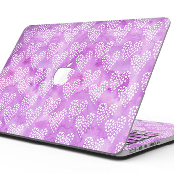 Micro Hearts Over Purple adn Piink Grunge Surface - MacBook Pro with Retina Display Full-Coverage Skin Kit