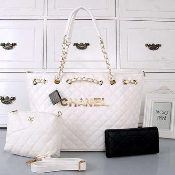 CHANEL Women Fashion Shopping Leather Chain Satchel Tote Shoulder Bag Handbag Three Piece Set
