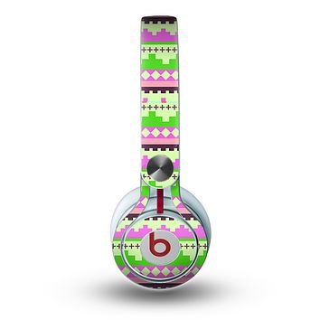 The Lime Green & Pink Tribal Ethic Geometric Pattern copy Skin for the Beats by Dre Mixr Headphones