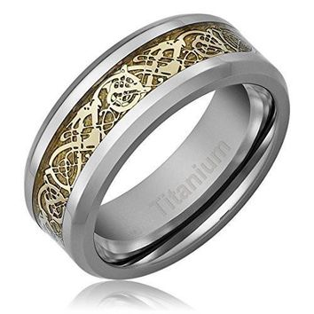 8MM Men's Titanium Ring Wedding Band | Gold-Plated Celtic Dragon Design