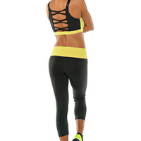Bombshell Sportswear - Cross Fit Sports Bra | Designer Active Wear - Citrus Yellow
