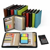 Logo Customized A5 & A6 Business Zip Bag Faux Leathe Planner Leather Notebook With Calculator Or Memo Pad For You To Choose