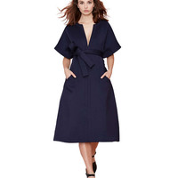 V-neck Short Sleeve Belted A-Line Midi Dress