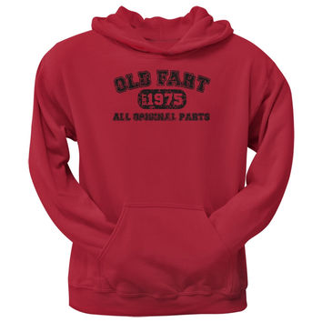 Old Fart Original Parts 1975 Funny Red Adult Hoodie