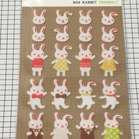 Rabbit Felt Sticker - 1 sheet - Korea sticker seal, Funny sticker world, scrapbook supplies Stationery supplies, Animal stickers