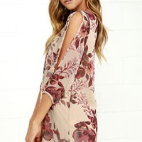 Shifting Dears Beige Floral Print Dress