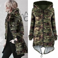 New Army Green Camouflage Drawstring Irregular Hooded Zipper Casual Coat