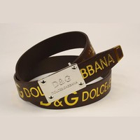 D&G Men Fashion Smooth Buckle Belt Leather Belt