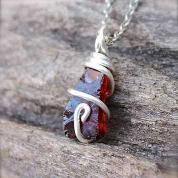 Raw Garnet Necklace - Rough Stone Necklace - Raw Stone Jewelry - Natural Garnet Jewelry - Natural Wiccan Jewelry - Red Gemstone Necklace