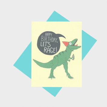 T-rex Dino Let's Rage Birthday Card