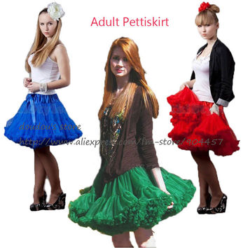 Retail Adult Teen Girls Pettiskirt Womens Solid Color Party TuTu Skirts Black White Red Lady Skirt Free Shipping 1 PCS
