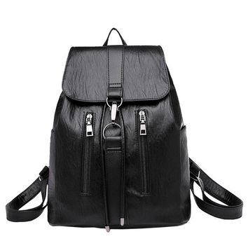 Girls bookbag Travel Backpack Vintage Girl Leather Bookbag Backpacks Satchel Women Travel Bag Ladies Backpack Morrales Para Mujer AT_52_3