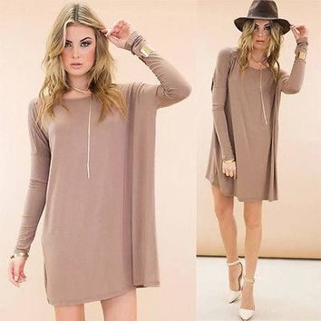 Loose Top Long Tunic Drape Shirt Long Sleeve Scoop Neck S M L XL