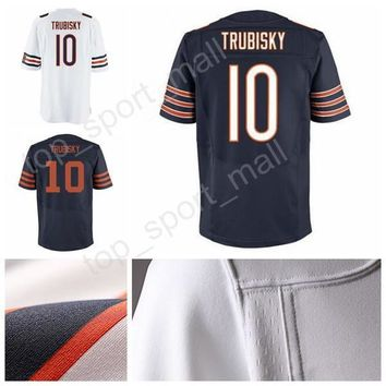 2017 Draft Pick Football 10 Mitchell Trubisky Jerseys Man For Sport Fans Navy Blue Team White Alternate All Stitched Top Quality On Sale