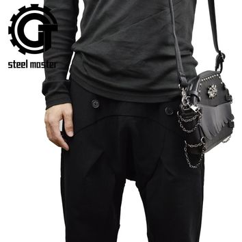 Small unisex black punk shoulder bag goth bags vintage travel school handbag crossbody messenger bag