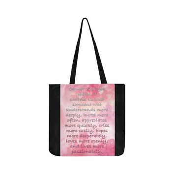 Cancer Changes People Breast Cancer Awareness Pink Ribbon Reusable/Water Resistant Shopping Bags (8 colors)