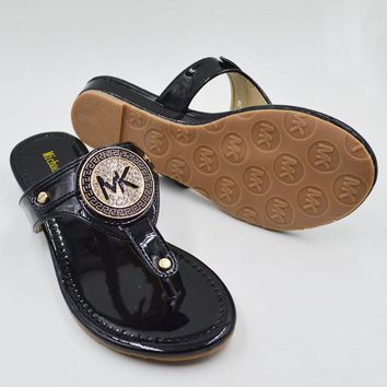 MICHAEL KORS MK New fashion women diamond slippers sandals flat shoes Black