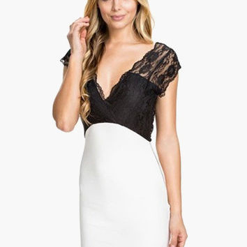 Black and White Back-to-Back V-Cut Floral Lace Bodycon Dress